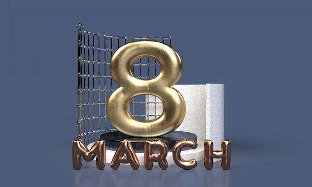 국제 여성의 날. 3d 렌더링
