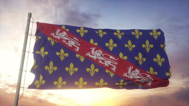 マルケ州の旗、フランス、風、空、太陽の背景に手を振っています。 3dレンダリング