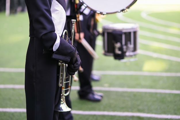 Marching band with horn and drum