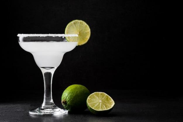 Margarita cocktail on slate wall