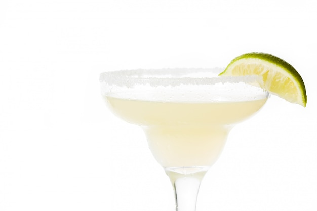 Margarita cocktail with lime in glass isolated,.