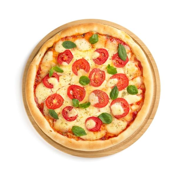 Margarita pizza isolated on white