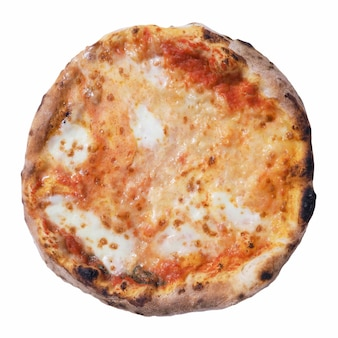 Margherita pizza baked food isolated over white