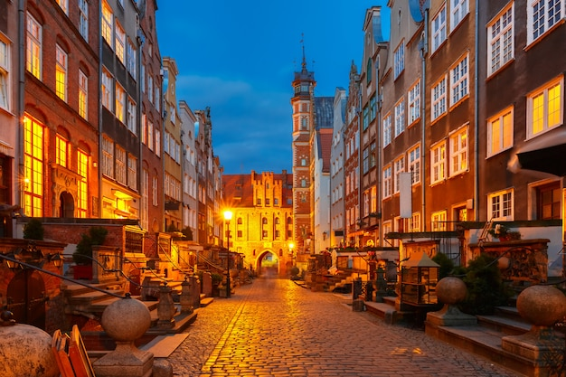 Mariacka street and gate, gdansk old town, poland