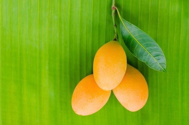 바나나 잎 배경에 마리안 매실 과일.