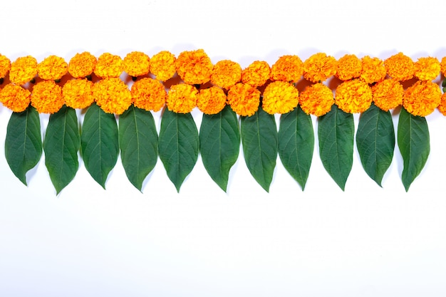 Marigold flower rangoli design for diwali festival , indian festival flower decoration