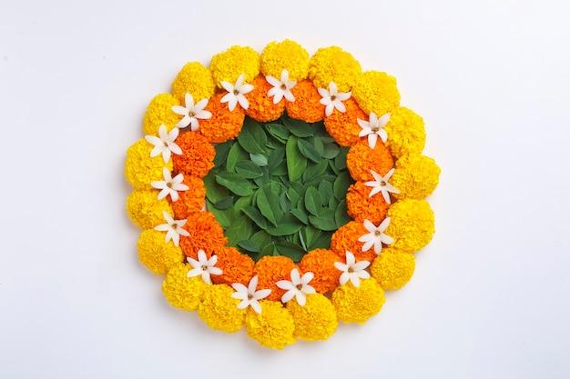 Premium Photo Marigold Zendu Flowers Flowers In A Bamboo Basket