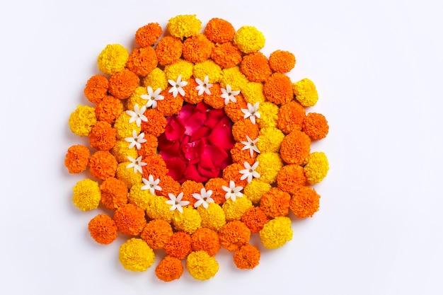 Marigold flower rangoli design for diwali festival, indian festival flower decoration