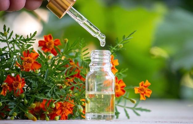 Эфирные масла масла календулы. выборочный фокус