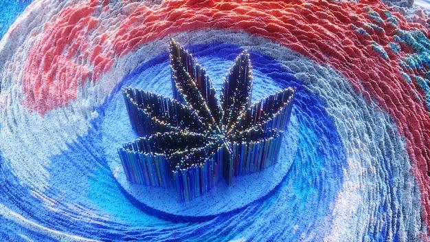 マリファナの背景。デジタルアートスタイルの大麻の葉。ハーブ、3dイラスト。マリファナのバナー、ポスター、チラシのデザイン。