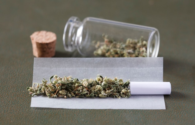 Marijuana buds with marijuana joints with cardboard filter cigarette paper and storage canister
