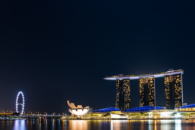 Marina bay, singapore - august 17, 2016 :  marina bay sands building and singapore science museum in