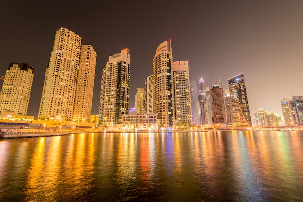 Marina district on january 10 in uae, dubai. marina district is popular residential area in dubai