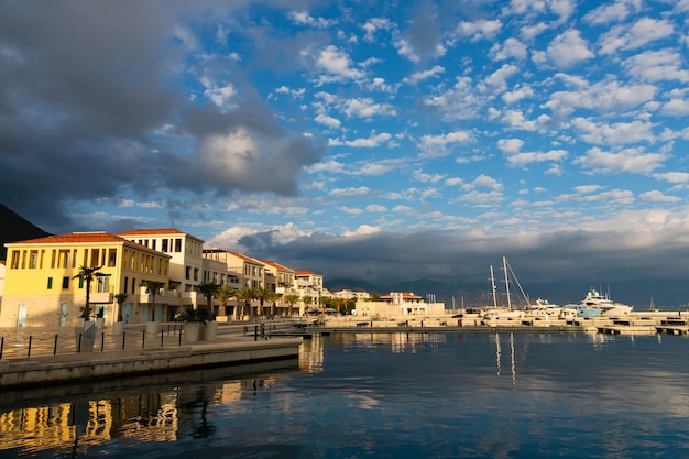 Marina of an idyllic mediterraneanstyle resort village nestled among the wild beauty of the boka kotor bay on the adriatic sea.