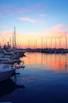 Marina sunrise sunset sport boat colorful