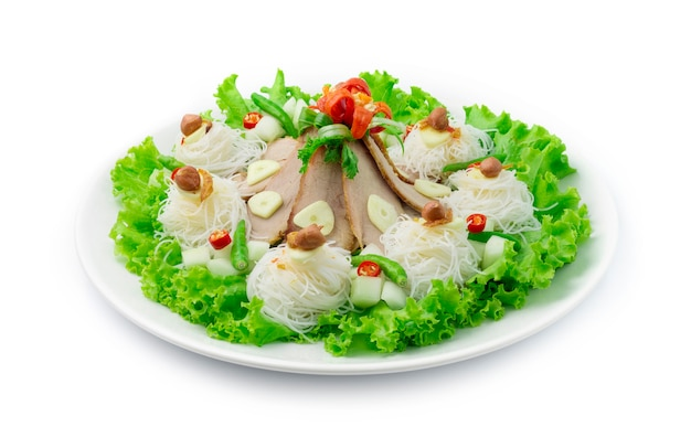 Marinated grill pork serve with vermicelli side dish with sweet dipping sauces