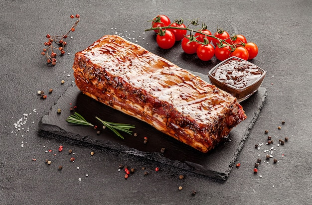 Marinated pork ribs with sauce and spices