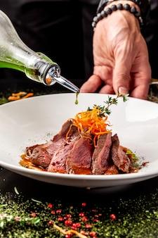 Marinated veal with roast medium rare.