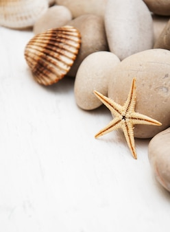 Marine background with pebbles and starfish
