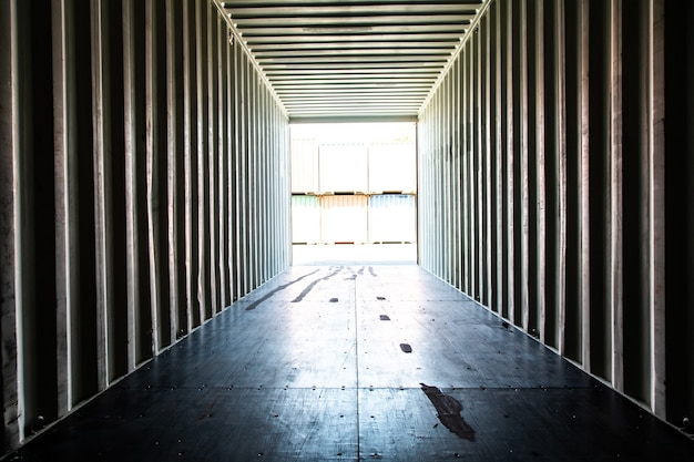 Marine and carrier insurance concept. cargo container yard. cargo shipping container box in logistic shipping yard. colorful cargo container stacks in shipping port.