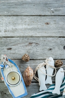 Marine items on old wooden