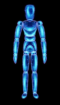 Marionette doll neon hologram isolated on black background, 3d illustration, 3d render.