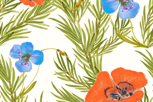 Mariposa lily flower pattern background, remixed from public domain artworks