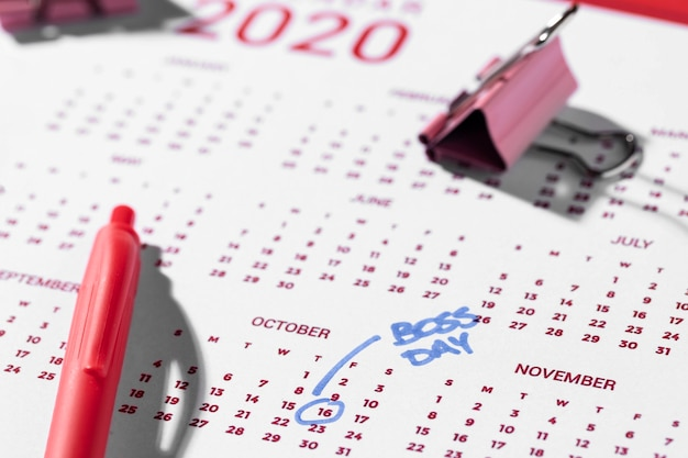 Contrassegnato il giorno del boss del calendario