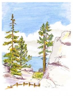山の風景ビューのマーカー絵画スケッチ。