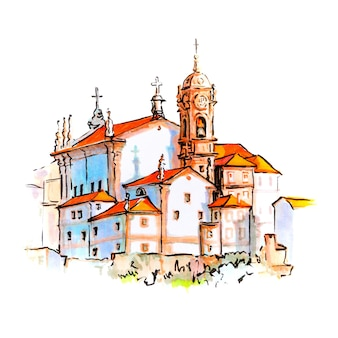 Marker sketch of houses and church in porto, portugal
