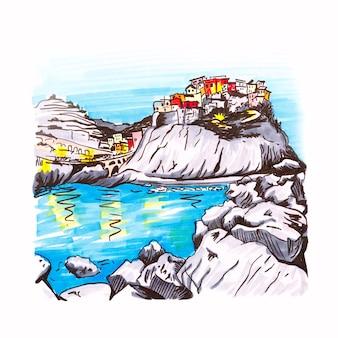 Marker sketch of manarola fishing village, liguria, italy.