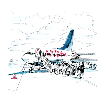 飛行機の乗客のマーカースケッチ