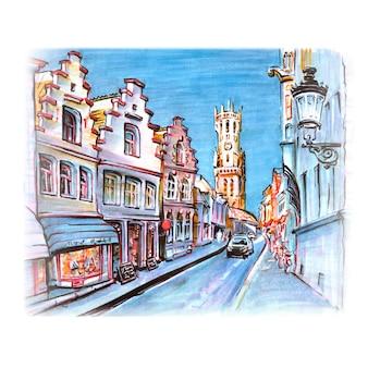 ベルギー、ブルージュのストリートとベルフォールのマーカースケッチ