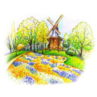 Маркер эскиз ветряной мельницы в бремене, германия