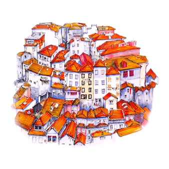 Marker sketch of old town of porto, portugal