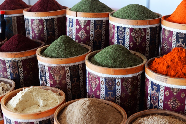 In the market of the bazaar in turkey istanbul beautiful containers