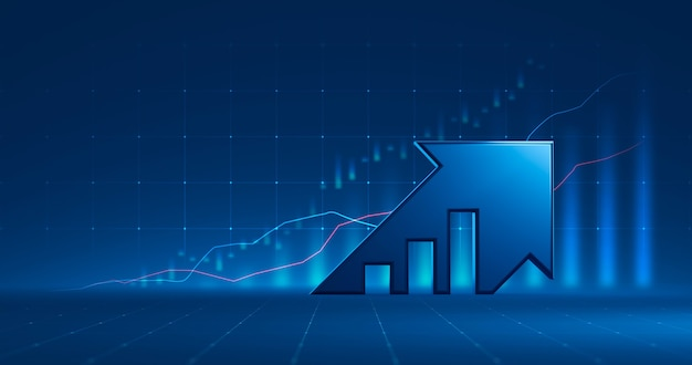 Market chart of business arrow stock graph or investment financial data profit on growth money diagram background with diagram exchange information. 3d rendering.