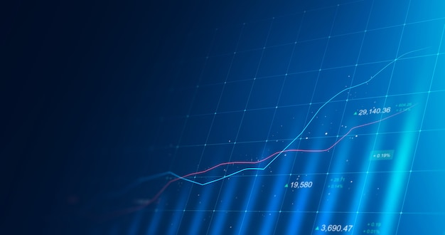 Market chart of business glowing stock graph or investment financial data profit on growth money diagram background with diagram exchange information. 3d rendering.