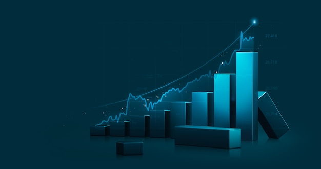 Market chart of business stock graph or investment financial data profit on growth money diagram background with diagram exchange information. 3d rendering.