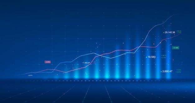 Диаграмма рынка бизнес-светящейся биржевой диаграммы или прибыли финансовых данных инвестиций на фоне диаграммы денег роста с информацией об обмене диаграммой. 3d-рендеринг.