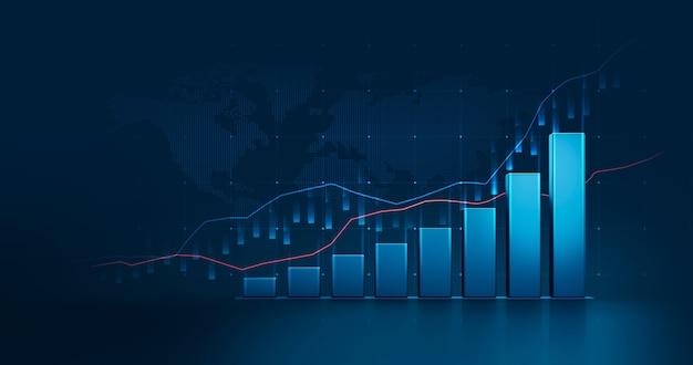 Диаграмма рынка бизнес-графика акций или прибыли финансовых данных инвестиций на фоне диаграммы денег роста с информацией об обмене диаграммой. 3d-рендеринг.