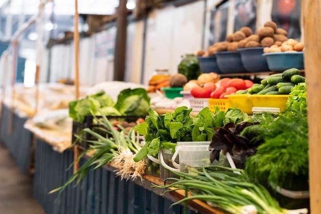 야채와 함께 시장 개념