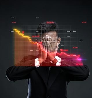 Market crash world recession. desperate businessman covering face