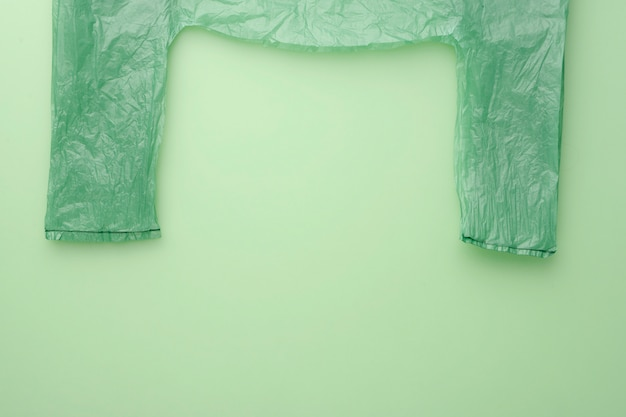Market green cellophane. no polyethylene. top view. green background
