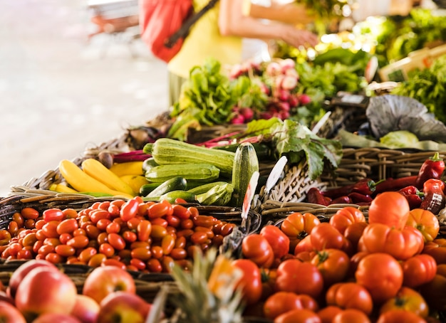 Market stall with variety of organic vegetable