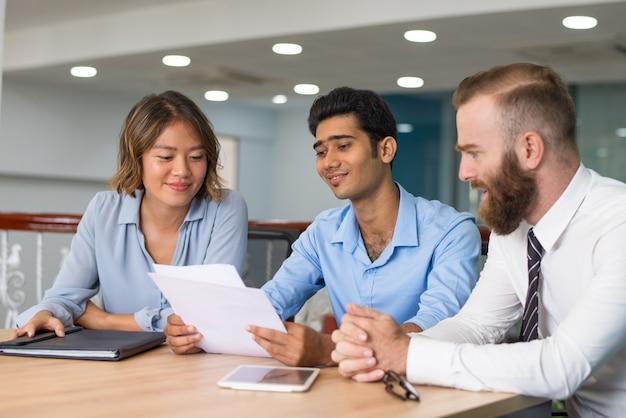 Marketing group analyzing strategy