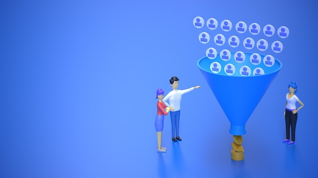 Marketing sales funnel attracting audience and getting money 3d render illustration