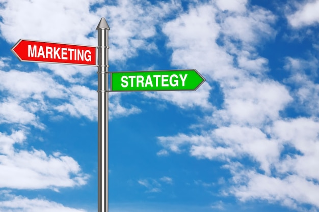 Marketing and strategy direction arrows road sign on a blue sky background. 3d rendering