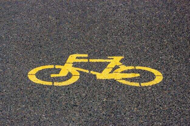 Marking on the asphalt bike path