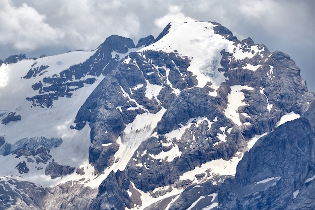 Marmolada tallest mountain covered in snow in dolomites